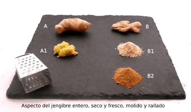 jengibre rallado, triturado, fresco o seco