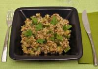 Crumble de arroz integral con verduritas y almendras